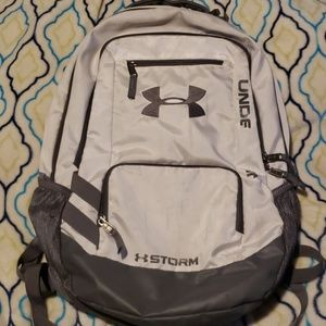 "Under armour gray and silver ""STORM""  backpack"